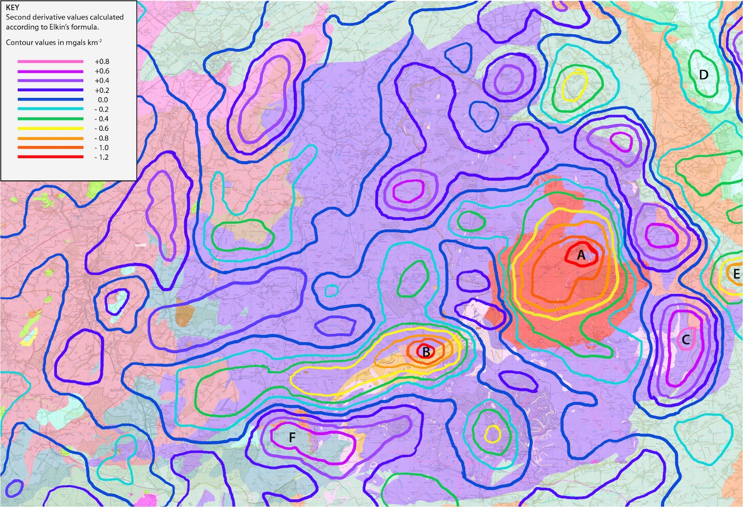 Second Derivative Gravity Anomaly Map