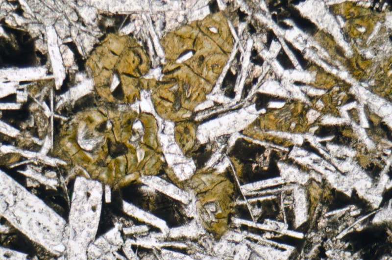 Alteration of olivine resulting in a serpentinite pseudomorph