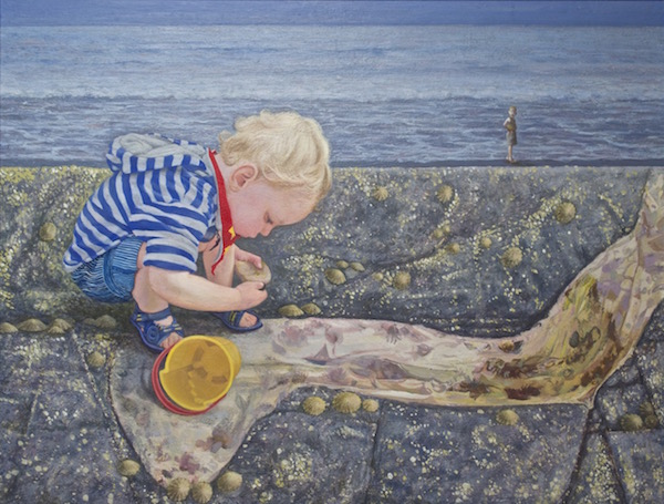 Danny Collecting Pebbles, Oil on board 280 x 215mm