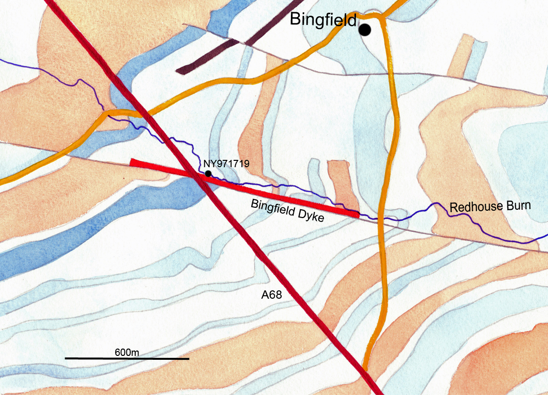 A Map of the Bingfield area showing the roads, position of the settlement, the burn, the bedrock and Bingfield dyke.