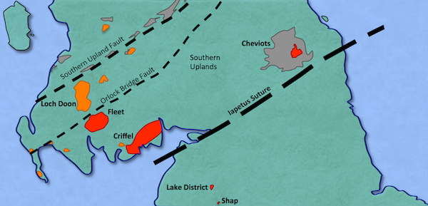 Map showing the locations of the late Caledonian intrusive and extrusive rocks in Northern England and Southern Scotland