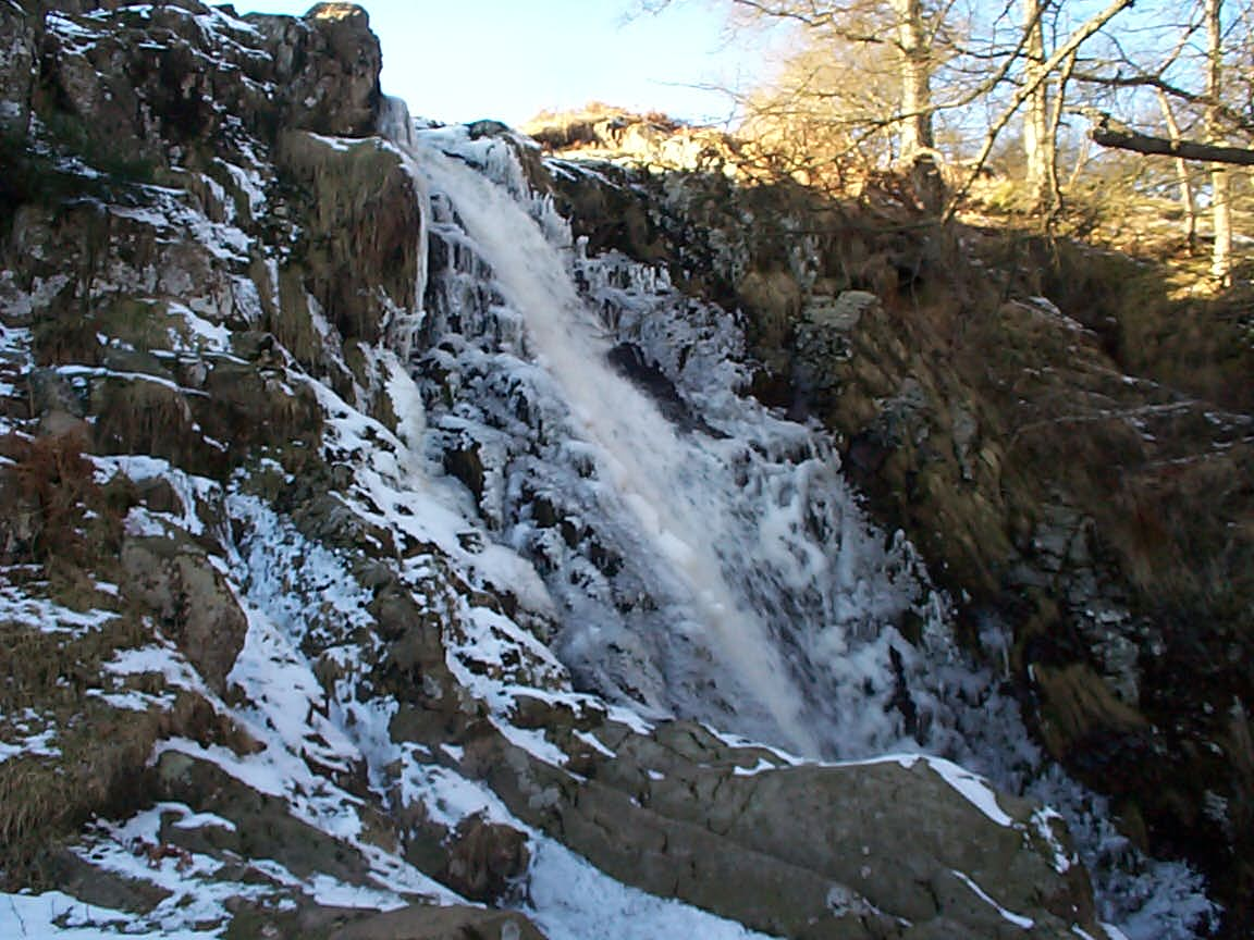Linhope Spout in snow and ice taken in January 2001