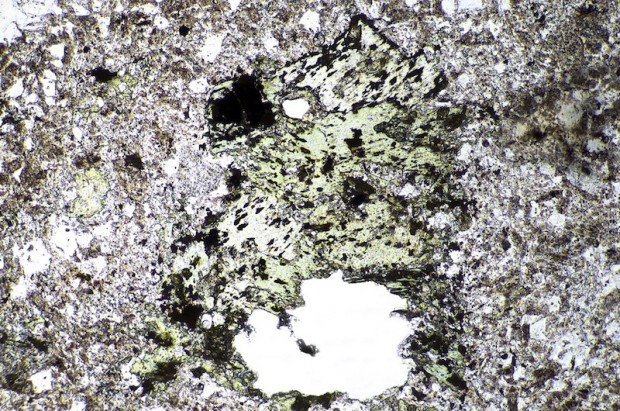Thin section of felsite dyke, Linhope Spout viewed in plane polarised light