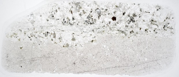 Syeno-granite   with a fine-grained intrusion at location 6, Harthope Linn. Thin section viewed in plane polarised light.