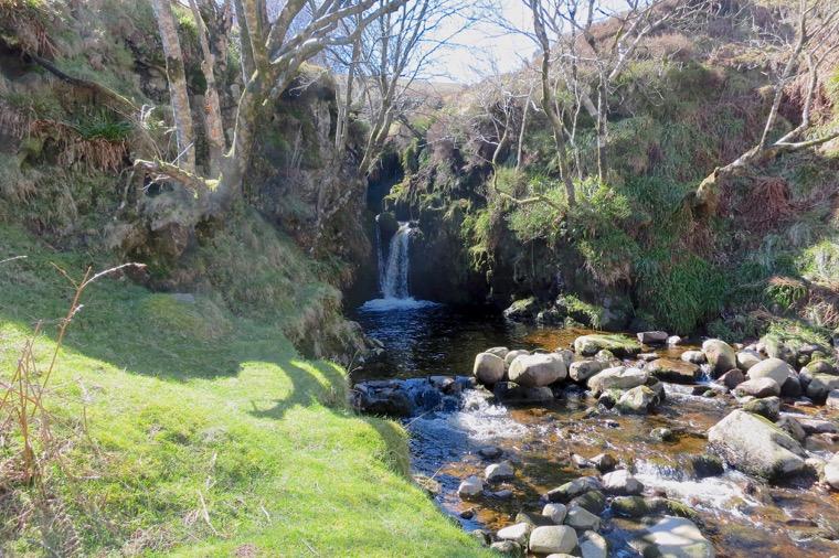 The higher waterfall at Harthope Linn