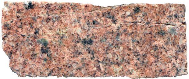 Prepared hand specimen of medium-grained granite at location 1, Harthope Burn NT 9450 2168