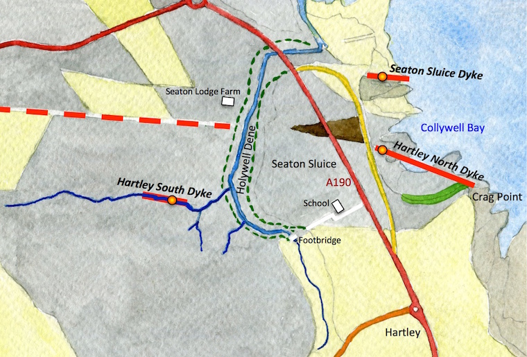 A map of the Collywell Bay and Seaton Sluice area showing the roads, the bedrock and dyke locations