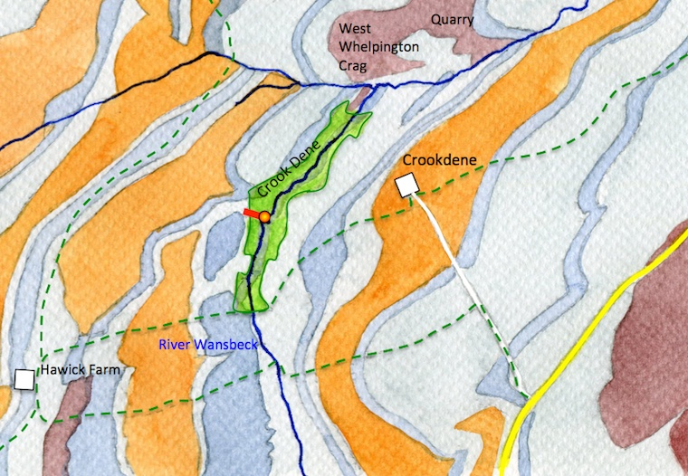 A map of the Crookdene area showing the roads, footpaths, the dene, the bedrock and Crookdene dyke.