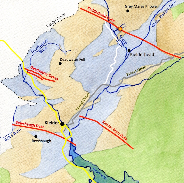 A map of the Kielder area showing roads, tracks, the bedrock and the tholeiite basalt dykes