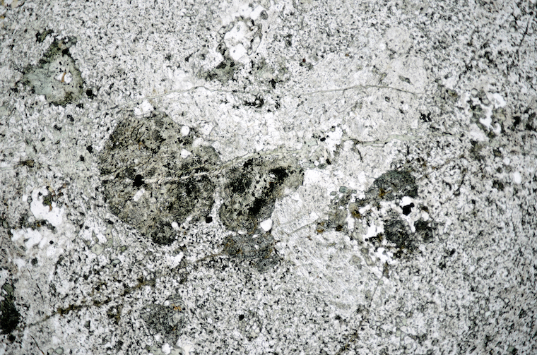 Glomerocryst of plagioclase and augite in the fine-grained matrix viewed at location 2. Section viewed in plane polarised light (FoV 5 x 3.3 mm)