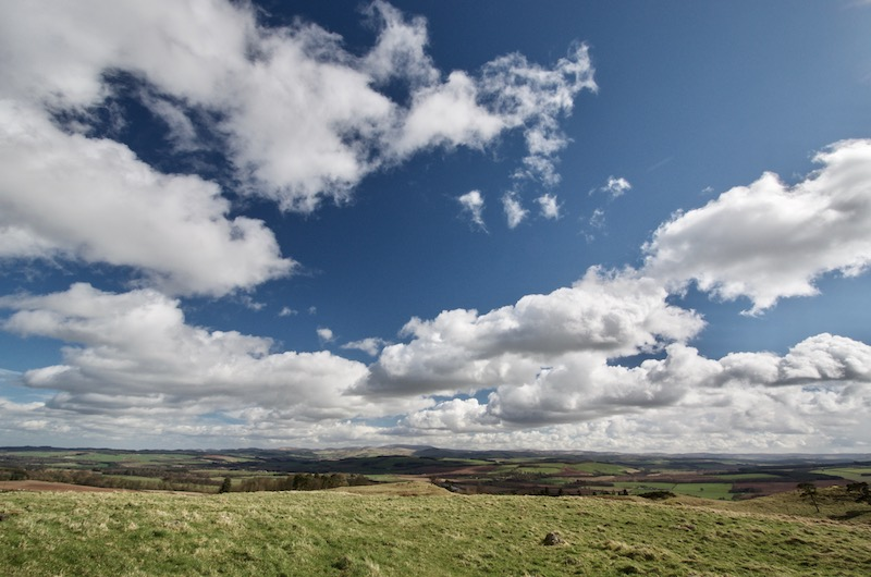 View across the Scottish Borders to the Cheviot Hills