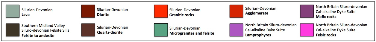 KeY to map of Silurian and Devonian igneous rocks in the Southern Uplands and Ballantrae