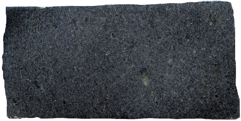 Microgabbro, Dunion Hill. Prepared hand specimen viewed in reflected light. (Section measures 38mm across)