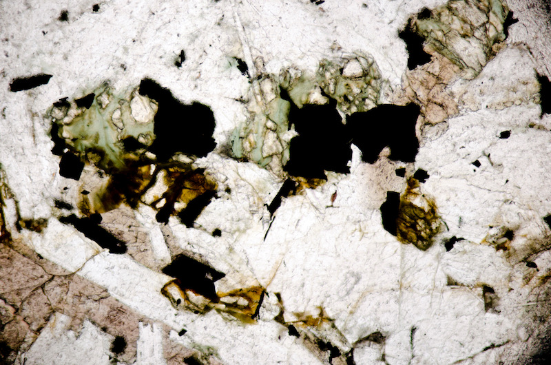 Chlorite, magnetite and apatite in the Peniel Heugh microgabbro. Section viewed in plane polarised light ((FoV 2.3 x 1.5 mm)