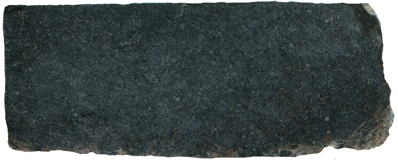 Microgabbro, Peniel Heugh NT 652 261. Prepared hand specimen viewed in ordinary reflected light (measures 42mm across)