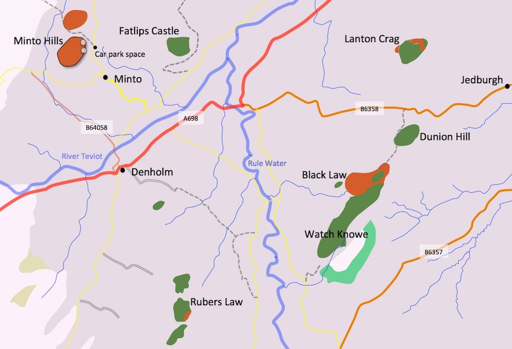 Map showing locations, sample points and rock types around Minto Hills