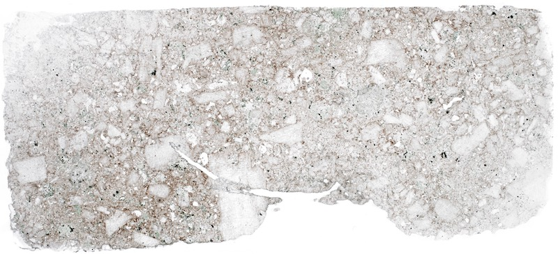 Quartz-porphyry dyke at Low Bleakhope. Thin section viewed in plane polarised light. (40mm across)
