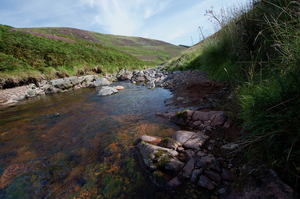 The Breamish below Low Bleakhope where a mica-porphyry dyke has been mapped crossing the river.