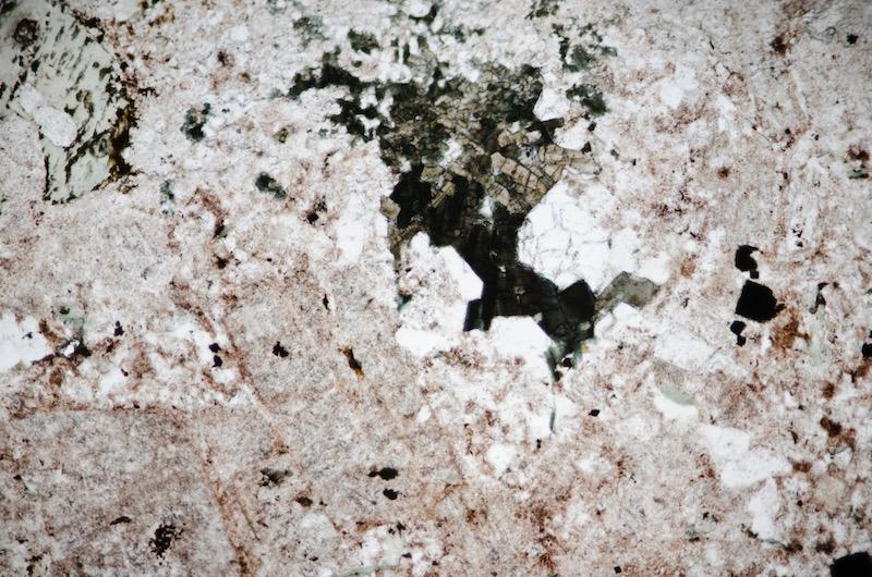 Tourmaline in granitic rock, Hawsen Burn PPL (FoV 1.2 x 0.8 mm)