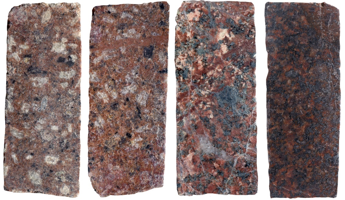 Transition in colour index and texture in rock from near the top of the Shiel Cleugh (left) and the bottom (right)
