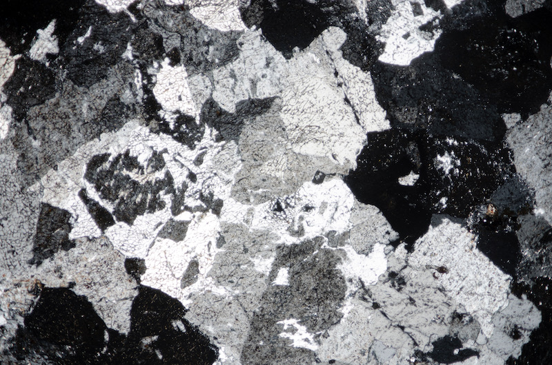 Representative view of the rock showing the absence of groundmass and the presence of coarse micrographic texture. Section viewed in plane polarised light (FoV 4.6 x 3.0 mm)