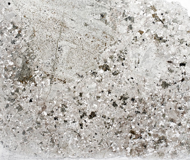 Granitic rock with fragments of andesite, Lambden Burn. Thin section viewed in plane polarised light.
