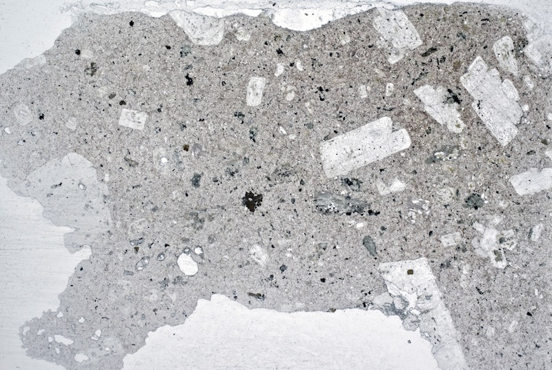 Andesite Hawsen Crag. Portion of thin section viewed in plane polarised light ( 20mm across)