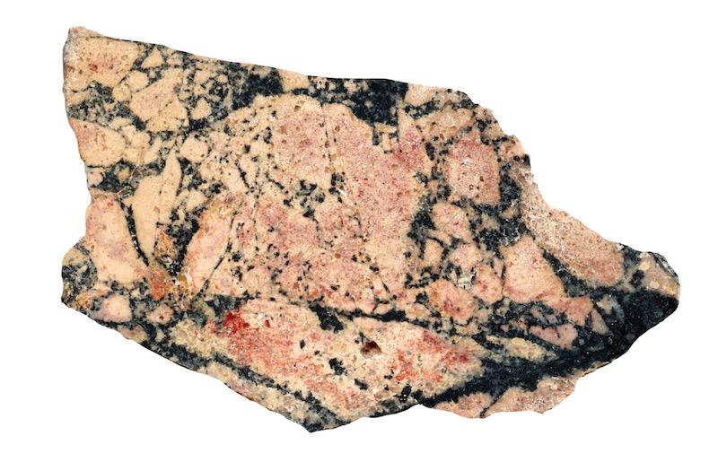Tourmaline in fine-grained granite. Scald Hill NT929219. Prepared hand specimen in ordinary reflected light