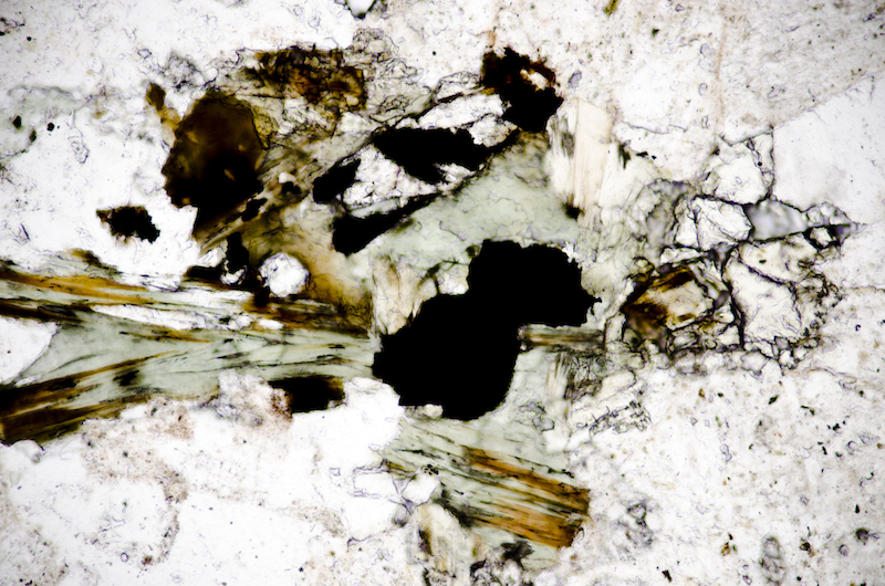Chlorite with a high relief mineral that is possibly, epidote with opaque iron titanium oxides. Section viewed in plane polarised light (FoV 1.2 x 0.8 mm)