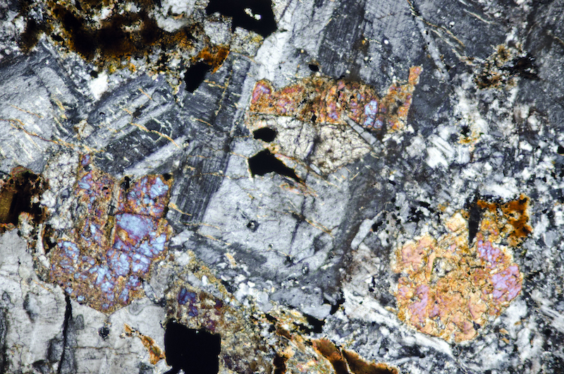 Altered clinopyroxene enclosed in plagioclase. Section viewed with crossed polarising filters (FoV 2.3 x 1.5 mm)