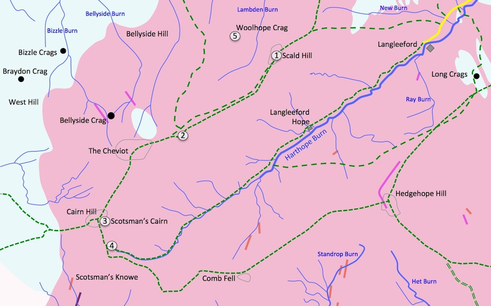 A map showing the route, locations , and igneous rock types in the area of Cheviot