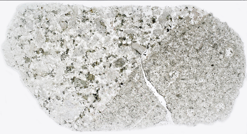 Central Belt rock in contact with fine-grained mafic material. Thin section viewed in plane polarised light.