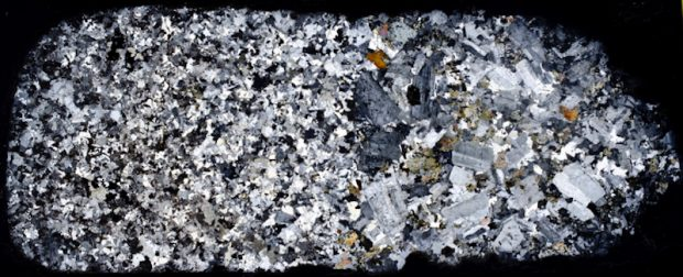 Coarse-grained Central Belt, Hedgehope Hill NT944177. Thin section viewed with crossed polarising filters.