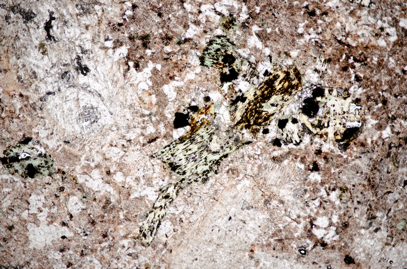 Representative view of the rock showing sericitised plagioclase, biotite altered to chlorite, opaques and quartz with K-spar in a granophyric texture and the haematite rich groundmass. Section viewed in plane polarised light (FoV 4.6 x 3.0 mm)