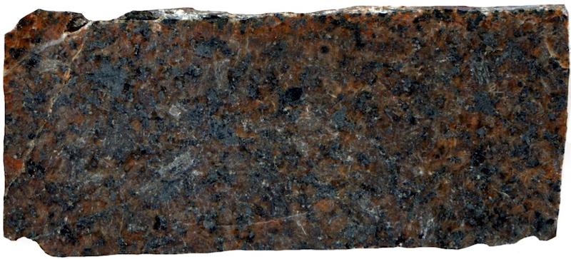 Marginal quartz-monzonite at waterfall on Ainsey Burn, NT918162. Prepared hand specimen in reflected light (48mm across)