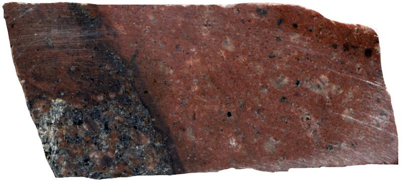Felsite dyke on Ainsey Burn, NT917162. Prepared hand specimen in reflected light (45mm across)