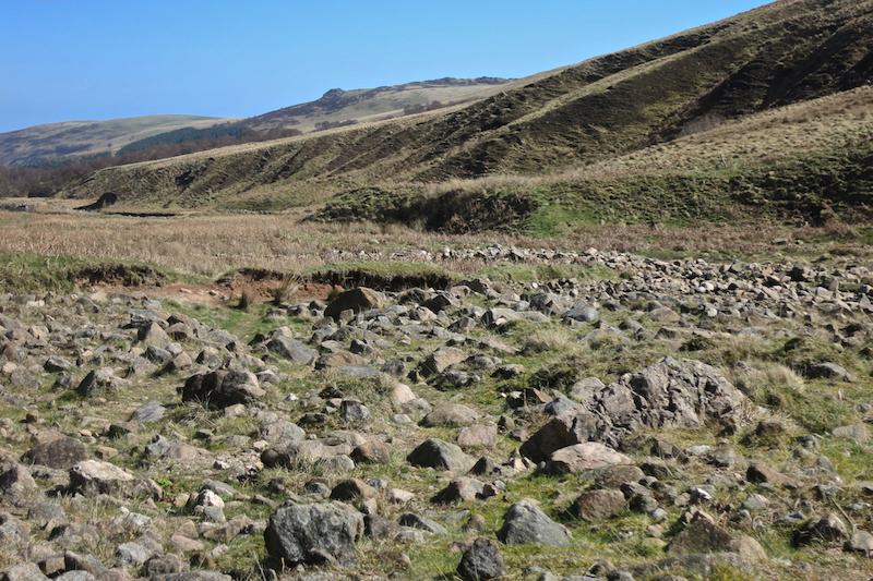 Boulder field with tourmaline-rich rocks, Harthope Valley
