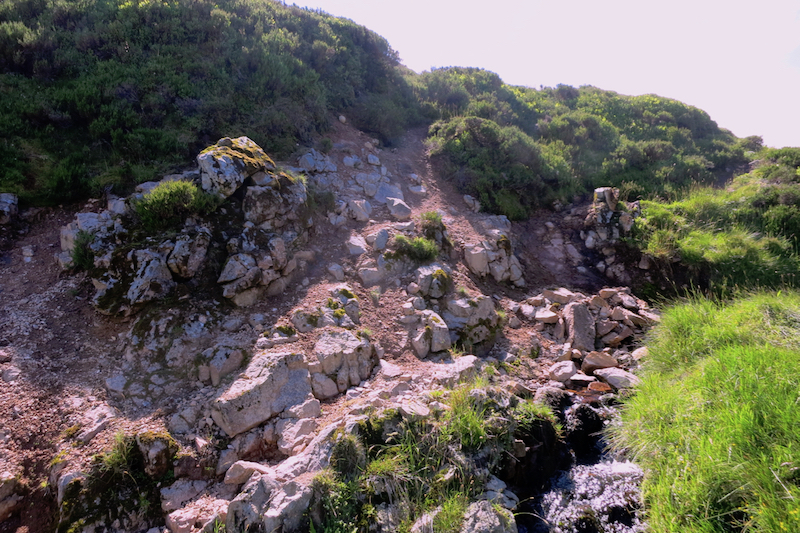 The last outcrop of Central Belt rock, Harthope Valley at NT909189