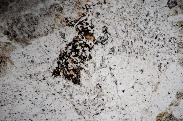 Haematite with quartz and predominantly potassium feldspar in brecciated rock. Section viewed in plane polarised light.