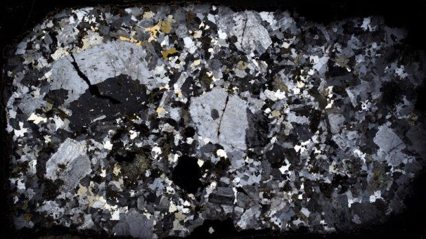 Thin section of  Central Belt rock  at location 10 viewed with crossed polarising filters