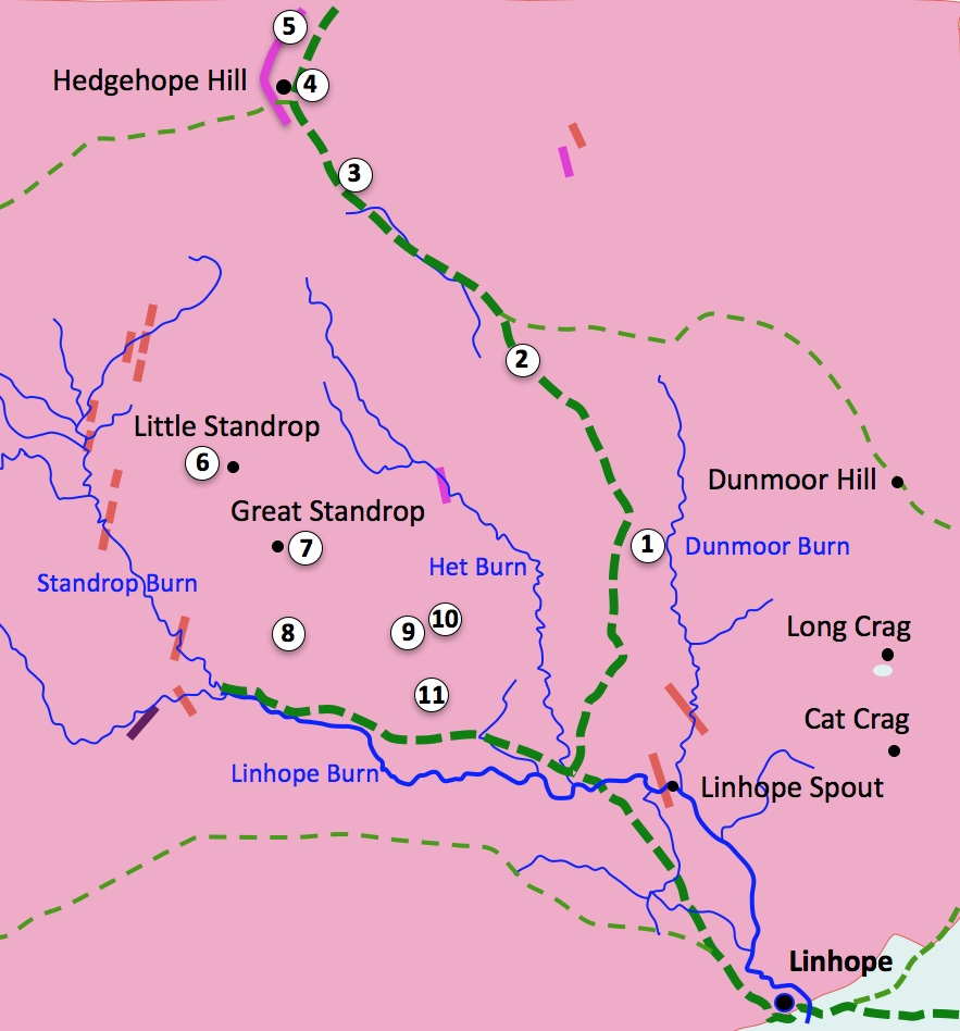 Hedehope Hill excursion,  map showing footpaths and sample locations
