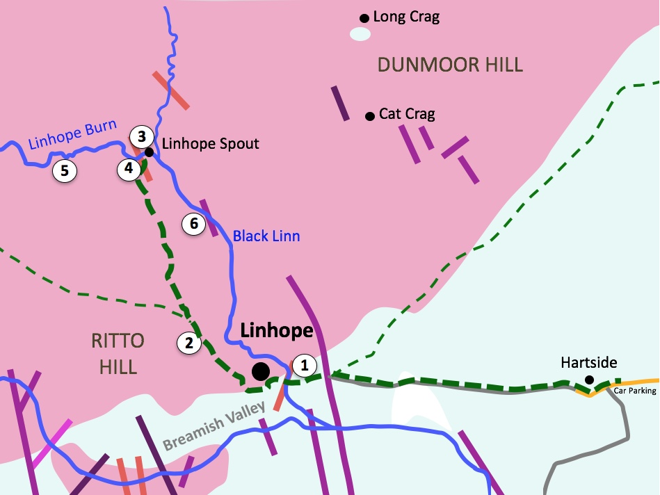 A map showing the route, locations , and igneous rock types in the area of Linhope Spout