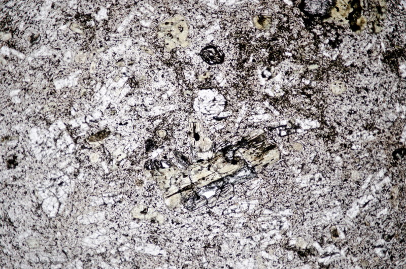Andesite or andesitic crystal-tuff in the second specimen shown above. Section viewed in plane polarised light (FoV 4.6 x 3.0 mm)