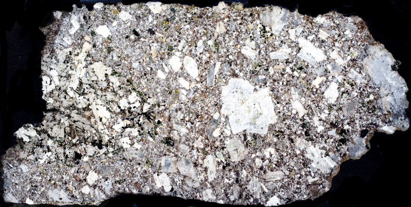 Quartz-porphyry, Breamish Valley. Thin section viewed with crossed polarising filters