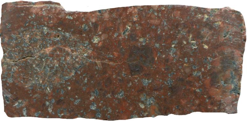 Quartz-porphyry dyke. Prepared hand specimen in reflected light (45mm across)