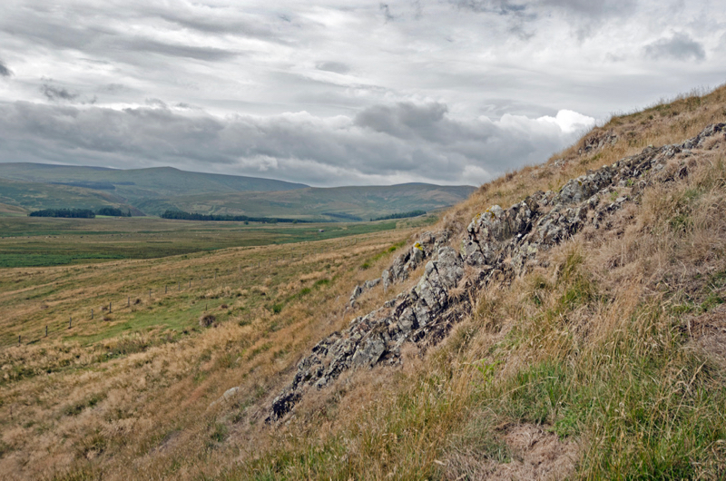 The first exposure of altered andesite, Dunmoor Hill
