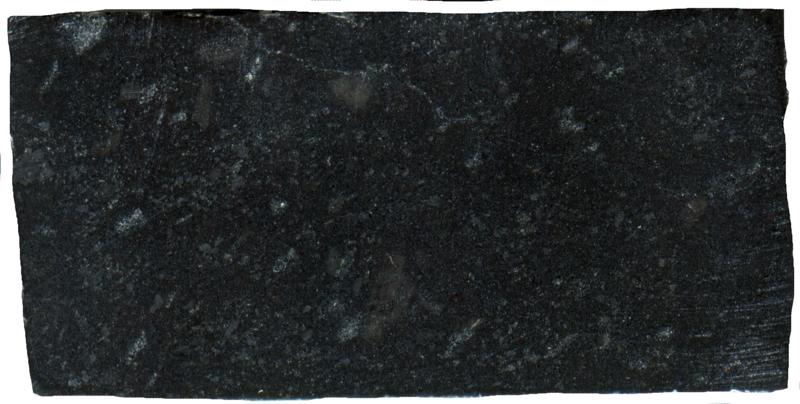 Andesite hornfels at Dunmoor Hill NT984179. Prepared sample viewed in plain reflected light  (42mm across)
