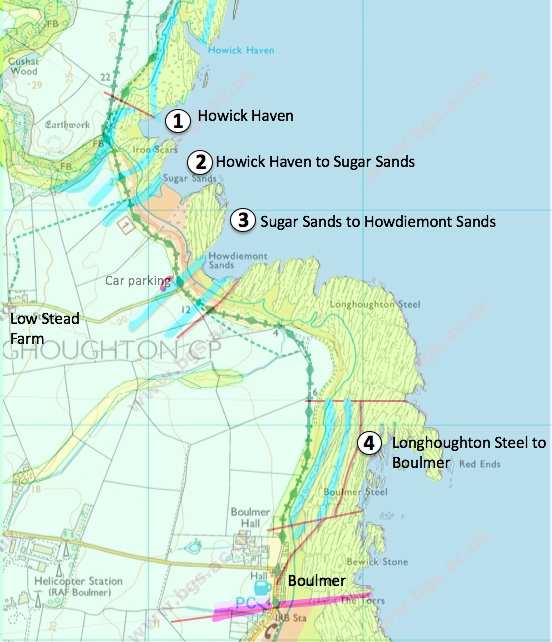 A map showing the geology at the coast and the locations described.